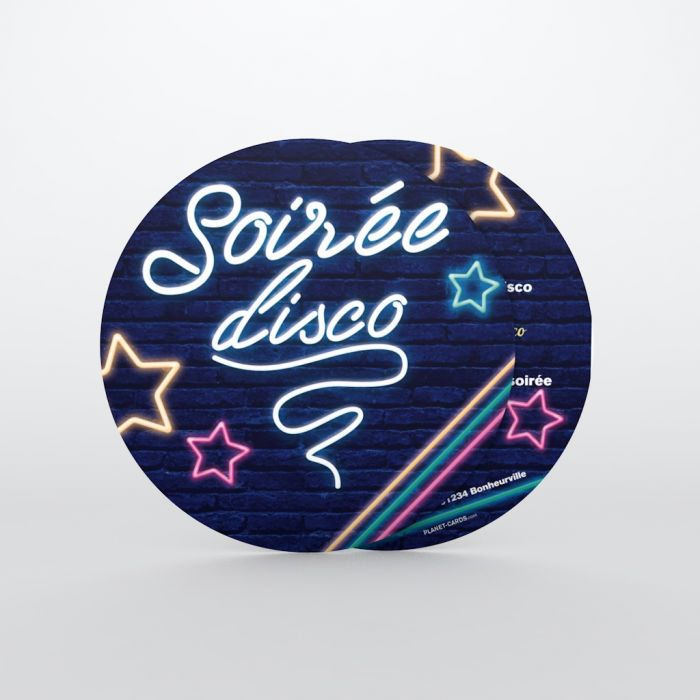 Invitation Anniversaire Adulte Disco Neon Planet Cards