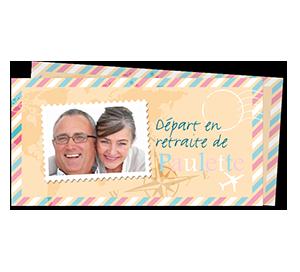 Cartes d'Invitations départ à la retraite Voyage