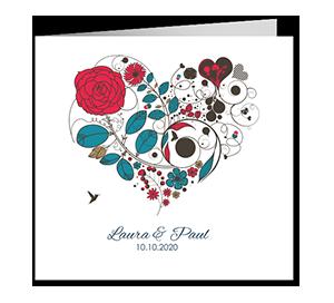 Faire part mariage coeur dessine en fleurs