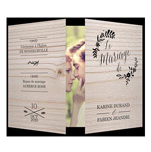 Faire part mariage floral sur bois tendre