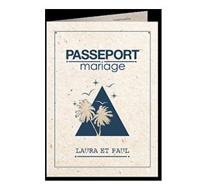 Faire part mariage pyramide et palmiers