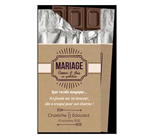 Faire part mariage tablette chocolat
