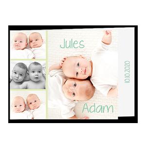 Faire part naissance jumeaux 4 jolies photos