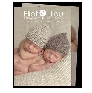 Faire part naissance jumeaux Citation et photos