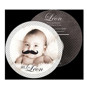 Faire part naissance humour Mr Moustache