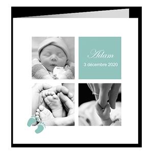Faire part naissance classique Vert et blanc avec petits pas de bebe