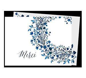 Cartes de remerciement décès couronne de fleurs bleutee