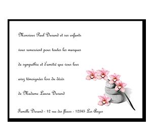 Cartes de remerciement décès orchidée