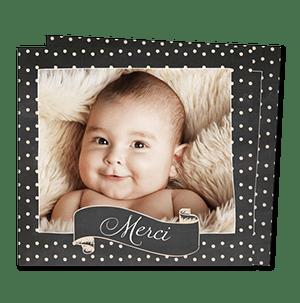 Cartes de remerciement naissance originales Ardoise et pois