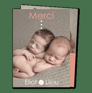 cartes de remerciement naissance jumeaux citation et photos