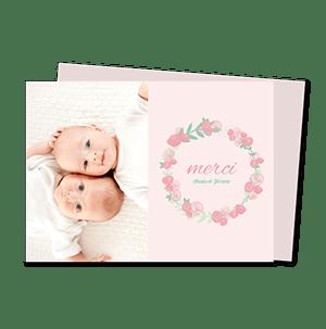 cartes de remerciement naissance jumeaux couronne de roses