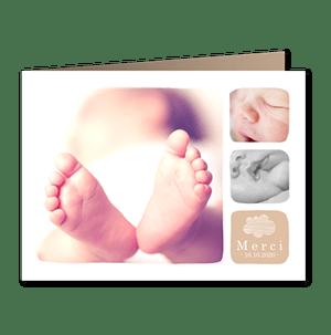cartes de remerciement naissance classique Douceur nuage