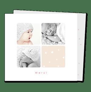 cartes de remerciement naissance classique Pincee d'etoiles