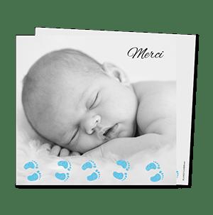 Cartes de remerciement naissance originales Sur les pas