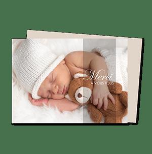 Cartes de remerciement naissance moderne tendresse et calins