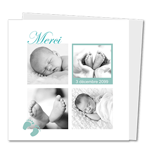 cartes de remerciement naissance classique Vert et blanc avec petits pas de bebe