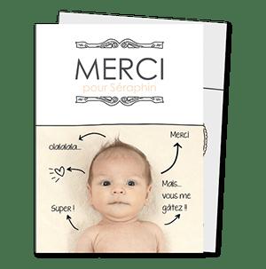 Cartes de remerciementt naissance originales Petites fleches et cadre baroque