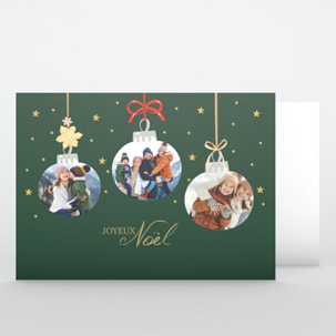 Carte de voeux Boules de Noël suspendues
