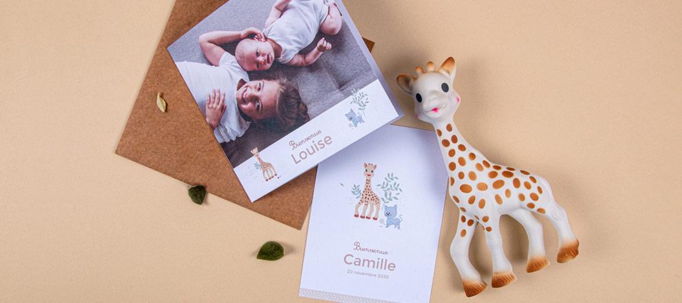 Notre collection de faire-part de naissance Sophie la girafe