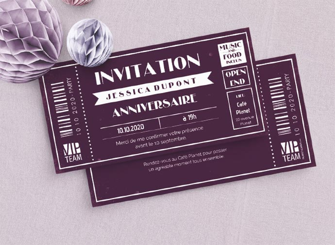 Invitations anniversaire adulte