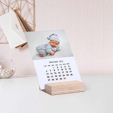 Calendario con foto con supporto in legno